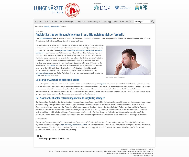 Antibiotika sind zur Behandlung einer Bronchitis meistens nicht erforderlich