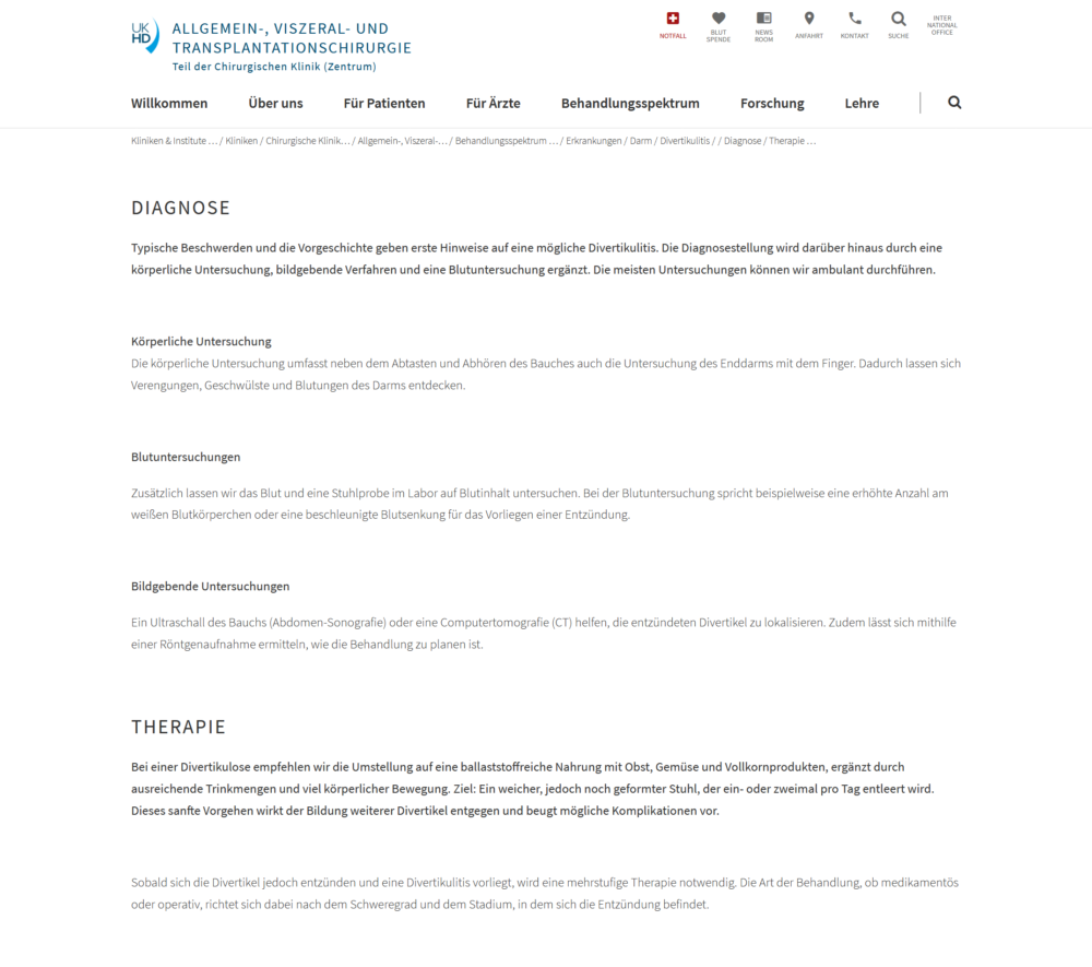 Divertikulitis Universität Heidelberg Diagnose und Therapie