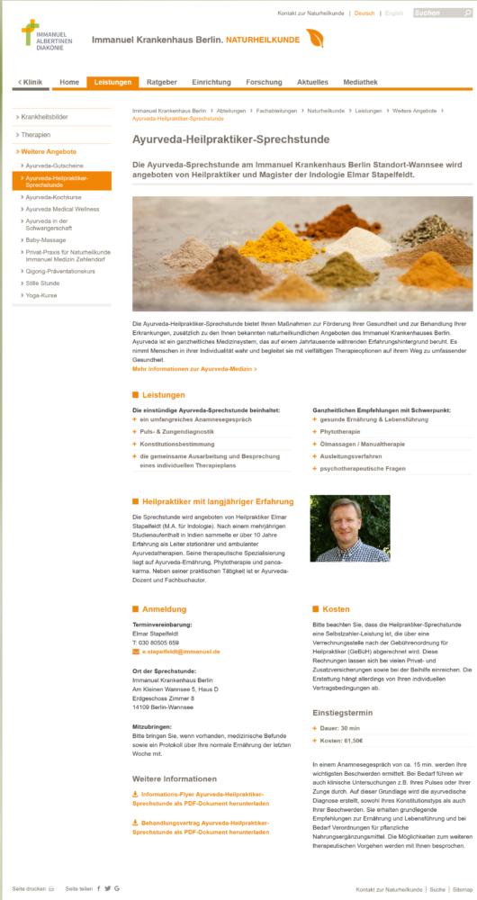 Ayurveda-Heilpraktiker-Sprechstunde Naturheilkunde in Berlin am Immanuel Krankenhaus