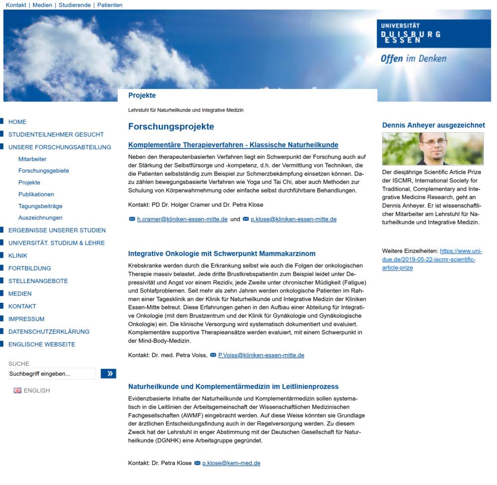 Universität Duisburg Essen. Prof Dr med Dobos - Lehrstuhl Naturheilkunde und Integrative Medizin