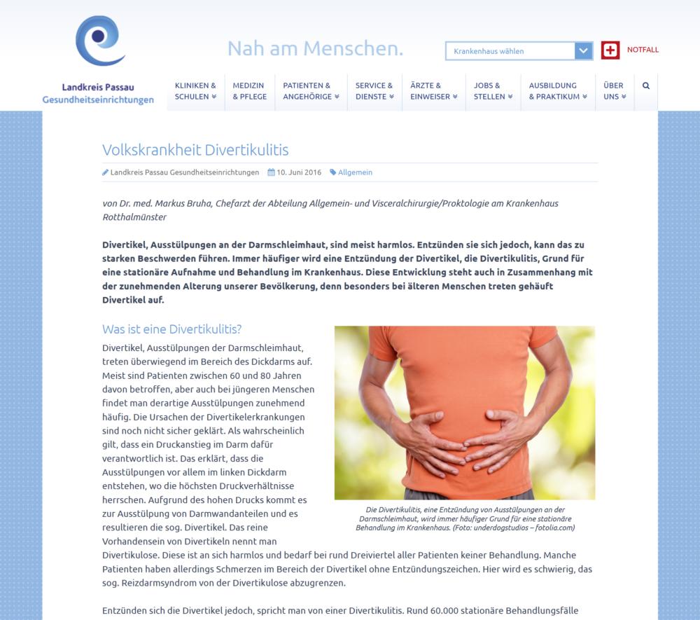Volkskrankheit Divertikulitis - Krankenhaus Rotthalmünster